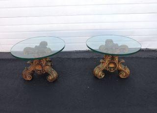 Round Glass - Top Side Tables By Universal Statuary Corp Of Chicago 6905 photo
