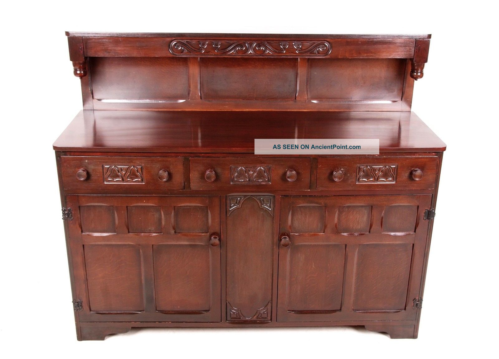 Antique Vintage Oak Sideboard Buffet Highboard Credenza Jacobean Carved 1900-1950 photo