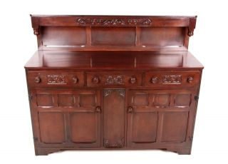 Antique Vintage Oak Sideboard Buffet Highboard Credenza Jacobean Carved photo
