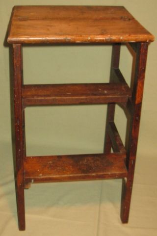 Antique Step Stool/stand/table Primitive Country Oak Finish Ca1900 photo