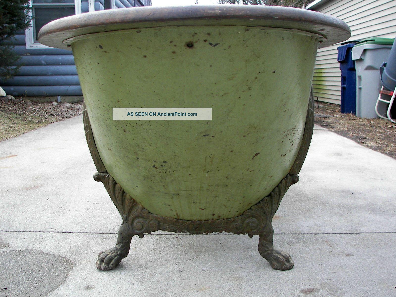Antique Victorian Oak Rimmed Copper Lined Bathtub Very Rare W/ Ornate Claw Feet Bath Tubs photo
