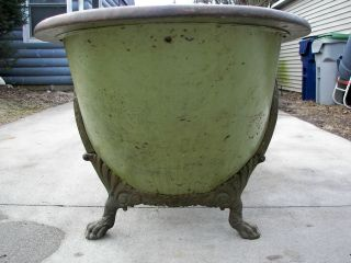 Antique Victorian Oak Rimmed Copper Lined Bathtub Very Rare W/ Ornate Claw Feet photo