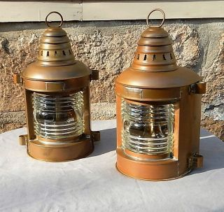 Antique Pair Perko Brass Ships Lanterns Marine Complete W/ Oil Lamps Great Shape photo