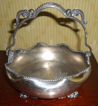 Antique Rockford Silver P.  Co Quadruple 1167 Hollowware Footed Handled Bowl 1890 photo