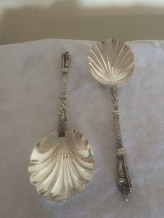 Silver Plated Apostle Serving Spoons With Oyster Shaped Bowls photo