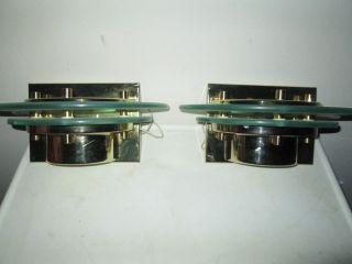 Pair Mid Century Modern / Deco Style Half Round Brass & Glass Sconces photo