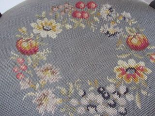 Antique Wooden Needlepoint Seat Chair - Floral And Berry Motif photo