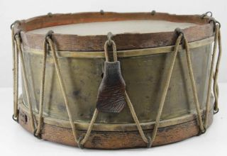 Antique Civil War Era Brass Rope Tension Snare Drum photo