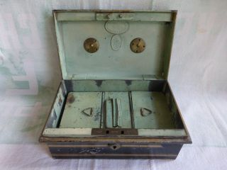 Antique Hobbs & Co London Lock Box Brass And Steel 3 Compartments No Key photo