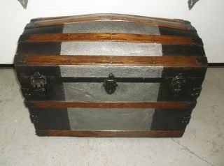 Wonderful Large Antique Hump Back Steamer Trunk Chest Metal Wood With Keys photo