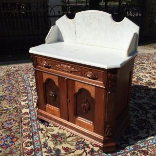 Stunning Victorian Walnut Carved Marble Top Washstand Incredible photo