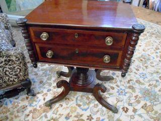 American Antique Philadelphia Federal Work Table Mahogany Circa 1810 photo