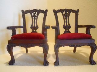 Pair Antique Vintage Victorian Queen Anne Style Salesman Samples Or Doll Chairs photo