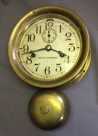 Antique Brass Ship's Clock Seth Thomas W/ External Bell photo
