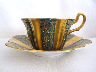 Vintage Royal Stuart Green Gold Cup Saucer Enamelled Decoration photo