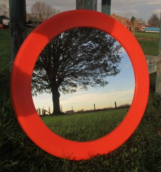Retro Vintage Round Orange Mirror Seventies Authentic Brevete France Plastic photo