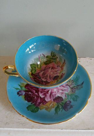 Antique Stanley Big Cabbage Roses Tea Cup & Saucer Turquoise Blue Pink England photo