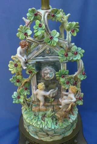 Huge Antique Continental Porcelain Bronze Figural Group Cherubs In A Garden Lamp photo