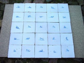 25 X Delft Blue Tiles Animal 18th Century (object1) photo