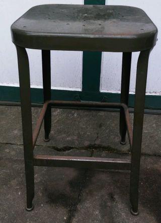 Vintage Lyon Industrial Mid Century Modern Steel Stool For School photo
