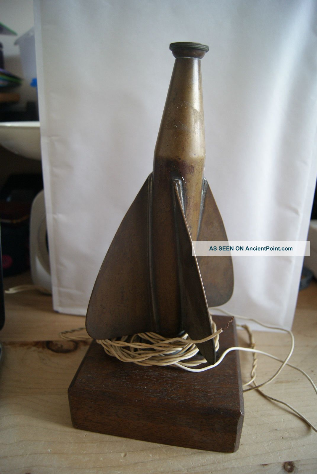 Art Deco Style Brass Boat Ships Log Converted As Table Lamp 20th Century photo