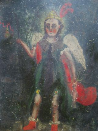 Wondrful Antique Retablo On Tinimage Of Archangel Raphael 1800 ' S photo
