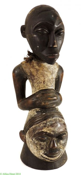 Ejagham Ekpa Society Figure Surmounting A Head Nigeria African Was $165.  00 photo