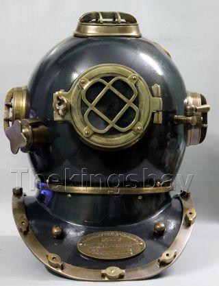 Antique U.  S Navy Mark V Solid Brass Diving Divers Helmet Full Size 18 Inch photo
