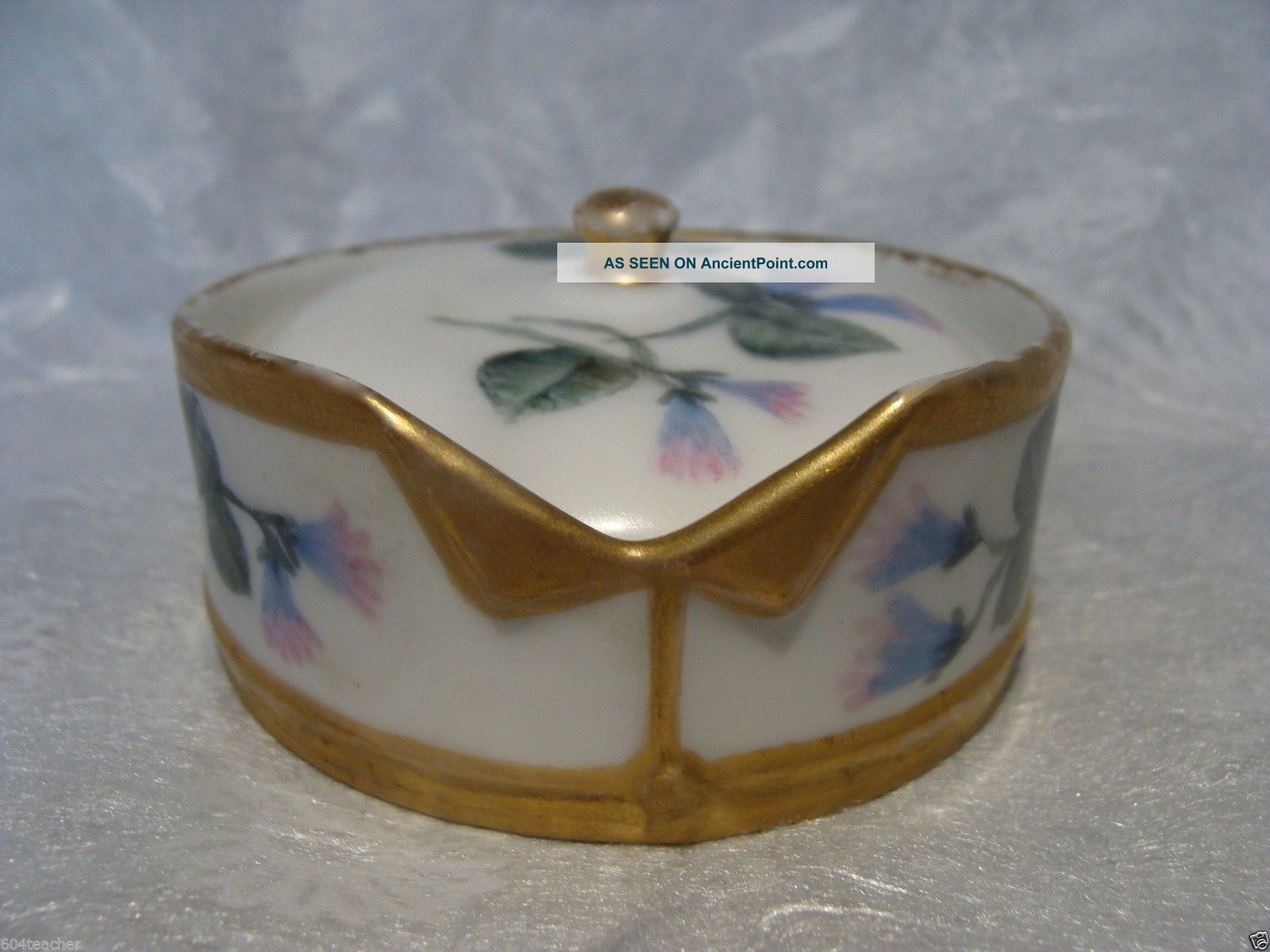 C1870 Limoges France Hand Painted Porcelain Stud Collar Button Box Elite French Baskets & Boxes photo