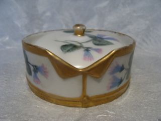 C1870 Limoges France Hand Painted Porcelain Stud Collar Button Box Elite French photo