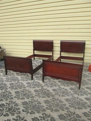 56621 Pair Mahogany Twin Size Sleigh Beds Bed S W/ Orignal Wood Side Rails photo