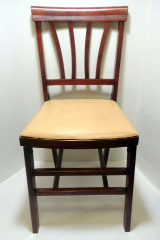 Antique 1940 ' S Vintage Fbmco Padded Seat Leg - O - Matic Folding Chair Restained Vgd photo