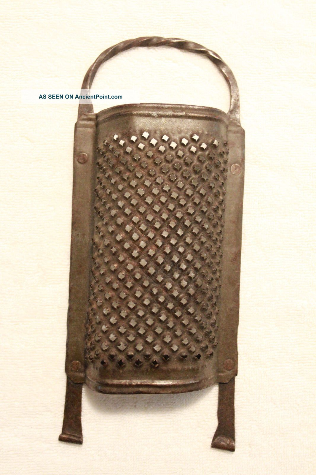 Early American Wrought Iron & Punched - Tin Grater - Circa 1820 - 1850 - Hearth Ware photo