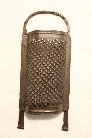 Early American Wrought Iron & Punched - Tin Grater - Circa 1820 - 1850 - photo