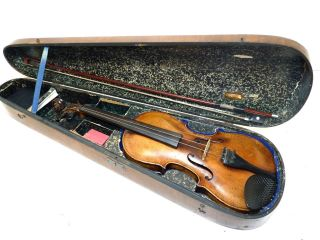 Antique Repaired 1947 Full Size 4/4 Stainer Violin W/bow & Coffin Case photo