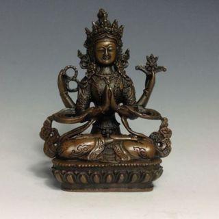 Rare Chinese Bronze Buddha Statue - - - 4 Bras Tara Buddha photo