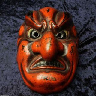 Vintage Japanese Hand Made Batou - Men Mask - Gagaku Noh Kagura Tengu photo