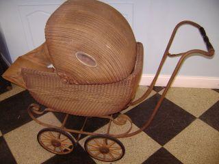 Vintage Wicker Pram Baby Buggy Carraige Stroller Dolls Toy photo