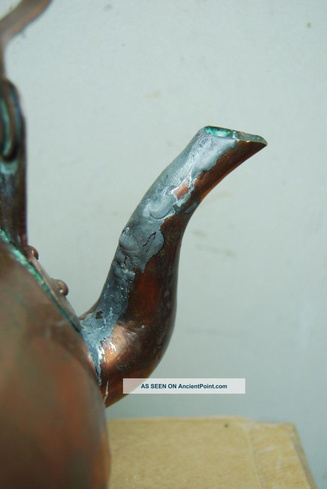 1800 ' S Antique Dovetailed Copper Tea Kettle Pot Early Primitive Hearth Ware Hearth Ware photo