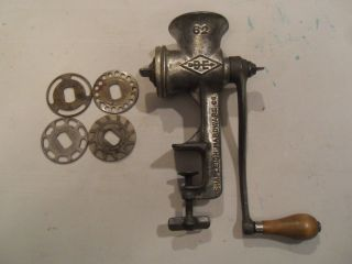 Vintage Cast Aluminum Shapleigh Hardware Table Top Meat Grinder Accessories Hand photo