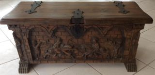 Antique Medieval Renaissance Spanish Coffer Chest Trunk Carved Knight Lion Feet photo