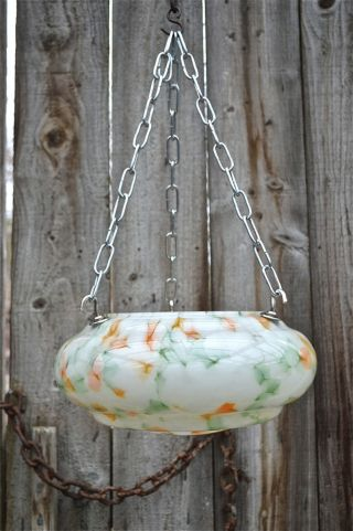 A Art Deco Colored Glass Flycatcher Hanging Light Shade photo