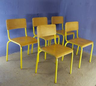 1 Of 20 Vintage 1970 1980 School Bar Bistro Cafe Stacking Chairs Beech Plywood photo