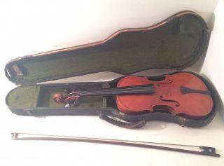 Antique Giovan Paolo Maggini Concert Violin W/ Case & Bow photo