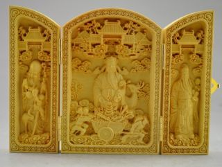 Decorated 100 Boxwood Highly Difficulty Carved God Of Wealth Statue Folding Box photo