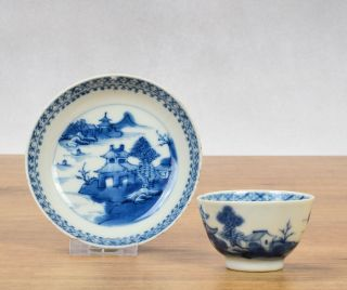 Chinese Porcelain C&s Landscape Boat Tea Cup Saucer 18th Century photo