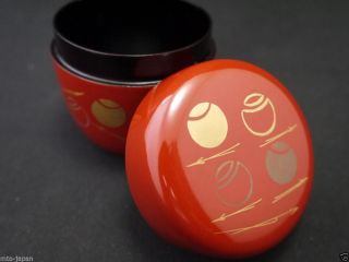 Japanese Traditional Lacquer Resin Tea Caddy Tsubotsubo Makie Natsume (1218) photo