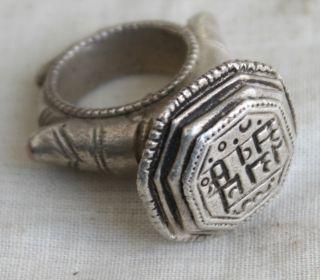 Old Multidesign Tribal Indian Design Engraved Dye Mould Seal Stamp Ring 06 photo