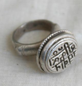 Old Multidesign Tribal Indian Design Engraved Dye Mould Seal Stamp Ring 05 photo