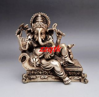 Chinese Old Handwork Carved Silver Copper Elephant Nose Buddha Statue photo